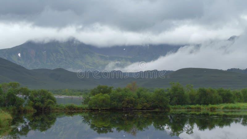 H?rliga berg av Kamchatka, f?glar av Kamchatka arkivfoton