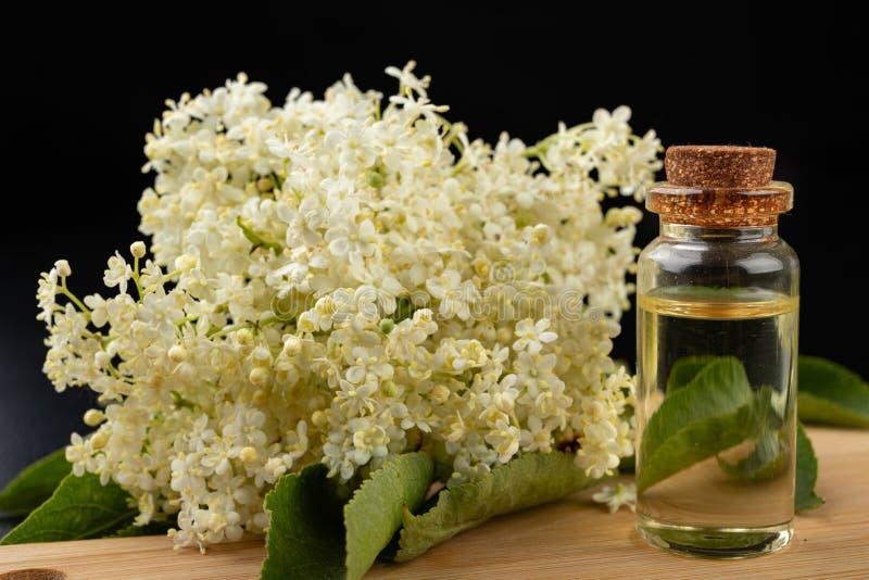 H?rliga blommor av fl?derb?ret och medicinsk fruktsaft i en flaska Naturliga hem- boter f?r f?rkylningar arkivbild