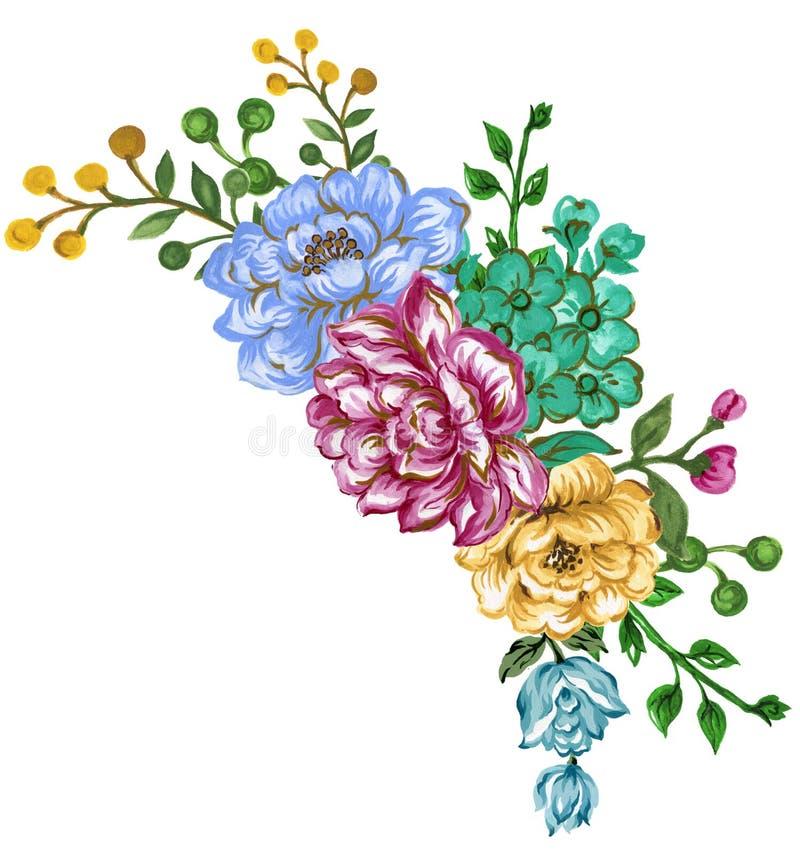 H?rliga blommor f?r vattenf?rgbr?llopinbjudan l?mnar ramen f?r l?vverkordningskransen f?r dig designhandm?larf?rg royaltyfri illustrationer