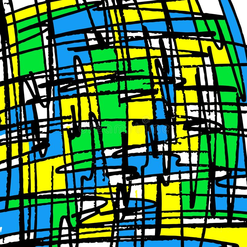 H?rliga kul?ra linjer grafitti p? en svart bakgrundsillustration stock illustrationer