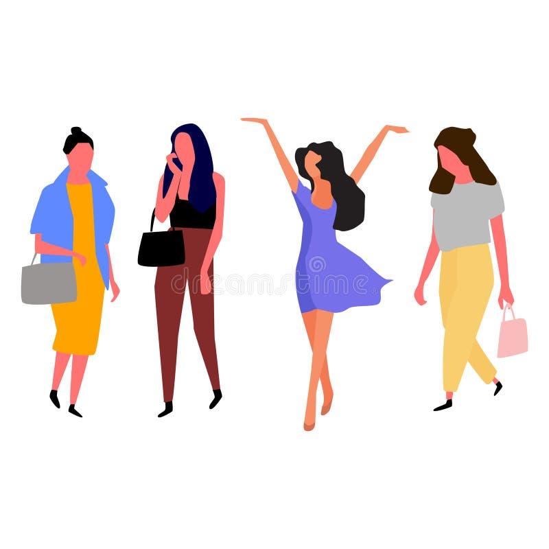 H?rliga unga kvinnor i modekl?der vektor stock illustrationer