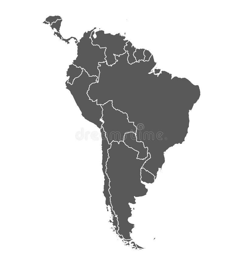 h?rligt dimensionellt diagram illustration s?dra tre f?r 3d Amerika mycket Grå färgkonturöversikt Сountries och öar vektor royaltyfri illustrationer