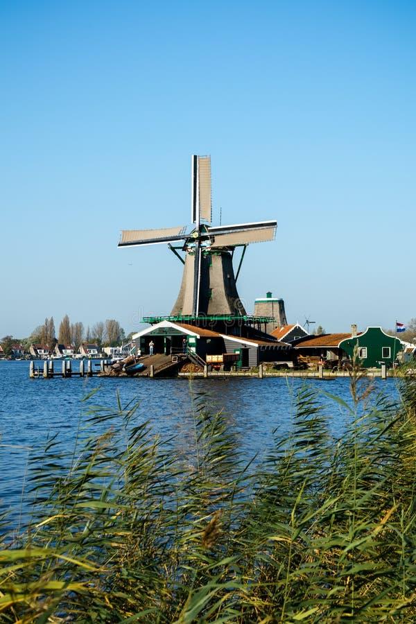 H?rligt Zaanse Schans v?derkvarnlandskap i Holland, Nederl?nderna fotografering för bildbyråer