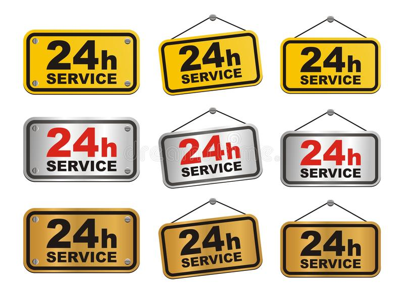 24h service sign. Suitable for user interface or decorations royalty free stock photo