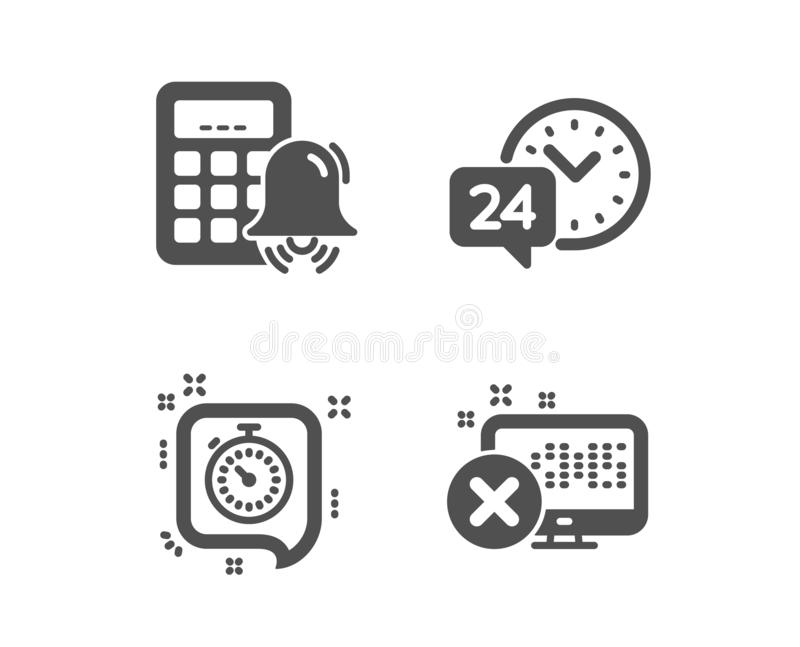24h service, Timer and Calculator alarm icons. Reject access sign. Call support, Time management, Accounting. Vector stock illustration