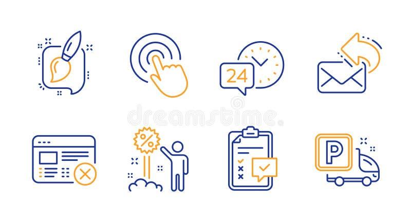 24h servizio, Click and Checklist set di icone Condividi messaggi di posta elettronica, rifiuta messaggi Web e sconti Vettore illustrazione di stock