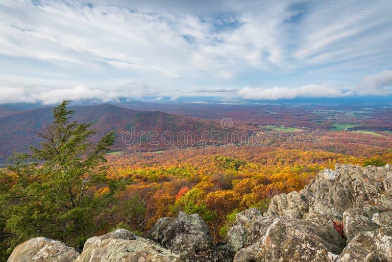 H?stsikten fr?n Ravens Roost f?rbiser, p? den bl?a Ridge Parkway i Virginia arkivbilder