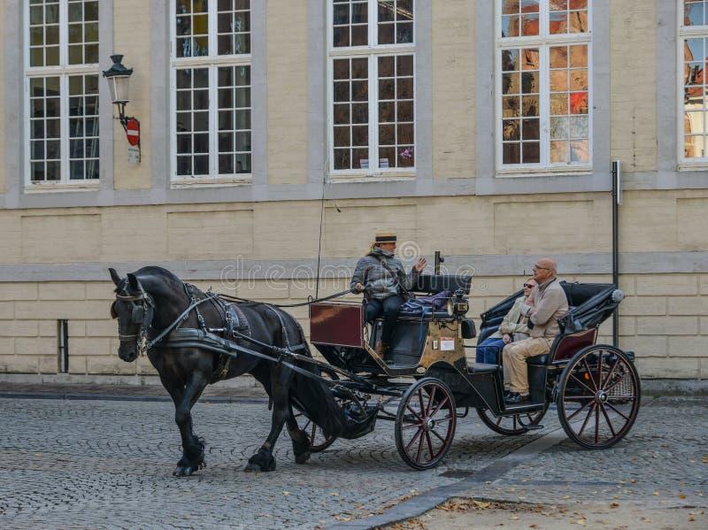 H?stvagn i Bruges Brugge, Belgien royaltyfria foton