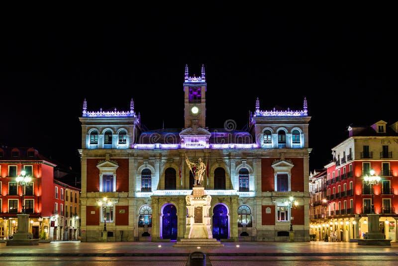 Hôtel d'Ayuntamiento De Valladolid, de ville et place principale images libres de droits