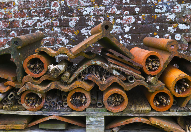 Hôtel d'insecte, bois réutilisé, pots de fleur de terre cuite et toit jusqu'à photos libres de droits