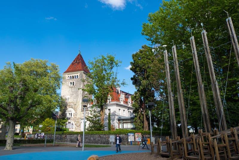 Hôtel de ` du château d Ouchy, luxueux et néogothique photos stock