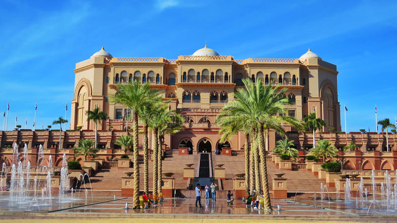 Hôtel de palais d'émirats en Abu Dhabi photographie stock libre de droits