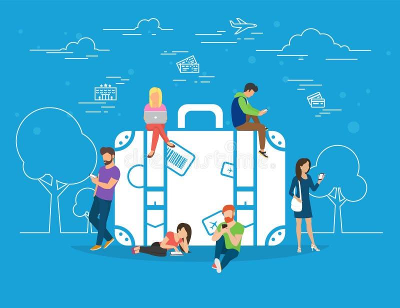 Hôtel de réservation et illustration en ligne de concept de billets illustration libre de droits