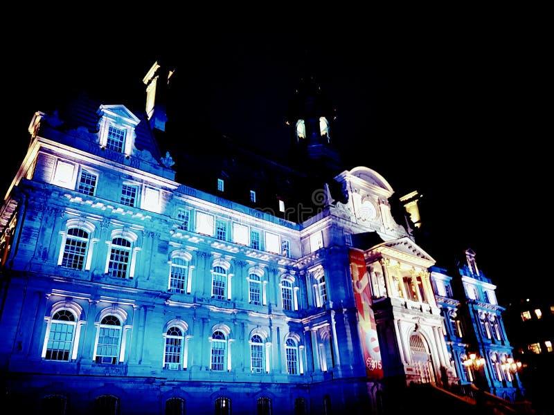 Hôtel de ville de Montréal allumé image libre de droits