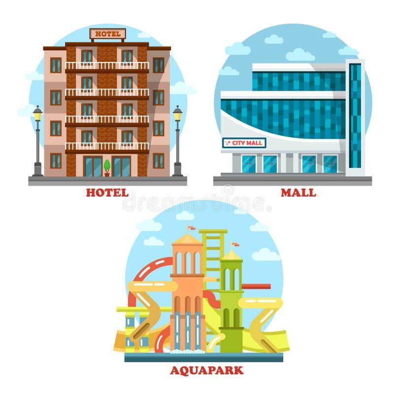 Hôtel et aqua ou parc aquatique, mail, supermarché illustration de vecteur