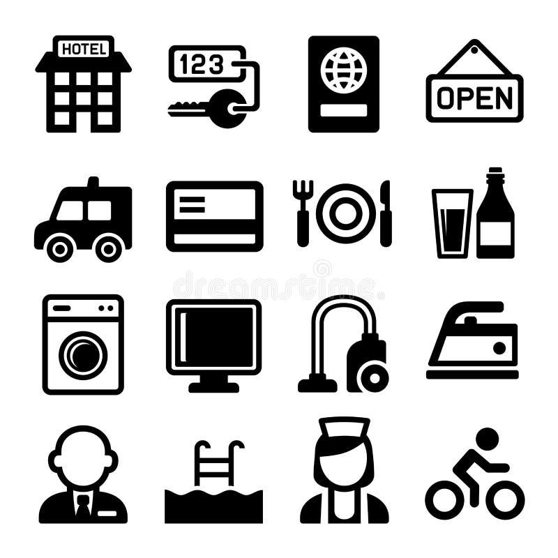 Hôtel et icônes de services réglées Vecteur illustration stock