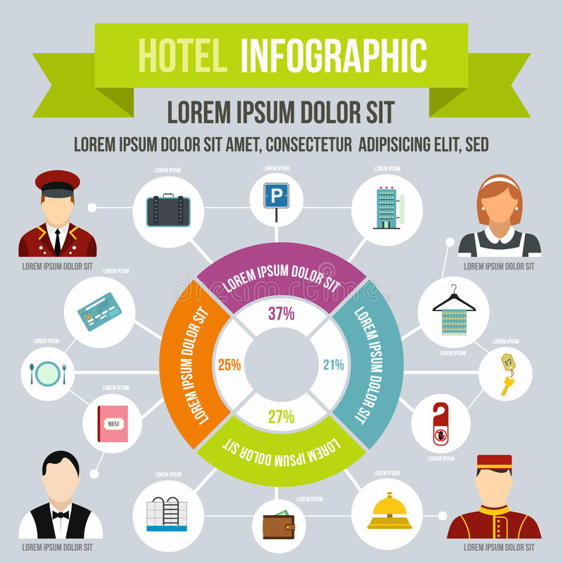 Hôtel infographic, style plat illustration de vecteur