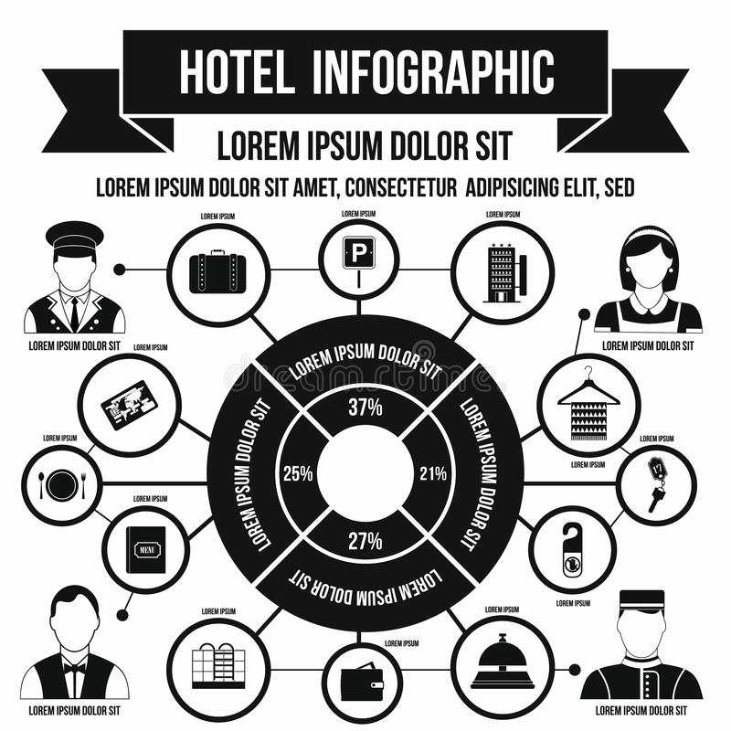 Hôtel infographic, style simple illustration stock