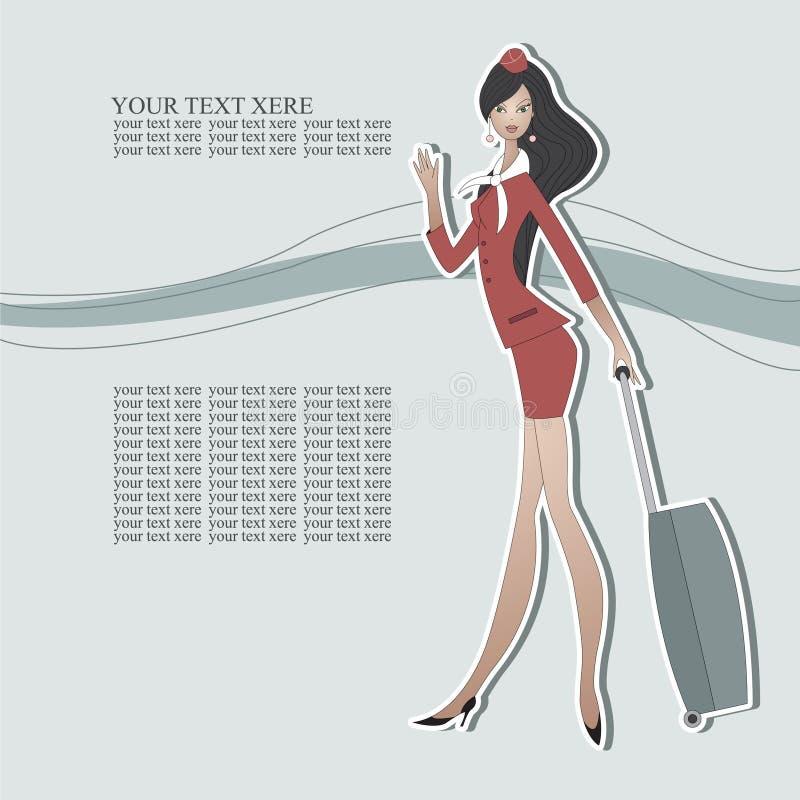 Hôtesse avec du charme dans un costume rouge illustration libre de droits