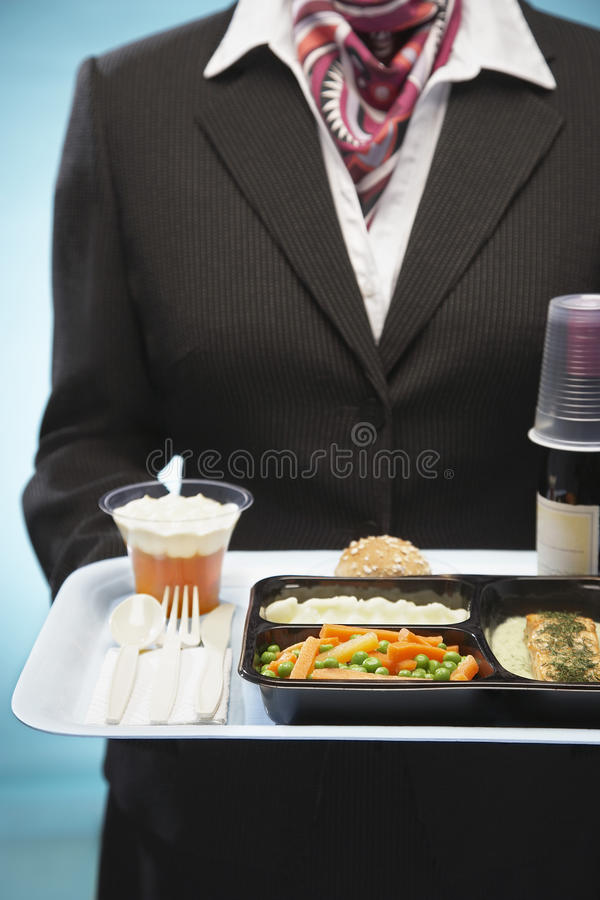 Hôtesse Holding Tray With Airplane Food photographie stock libre de droits