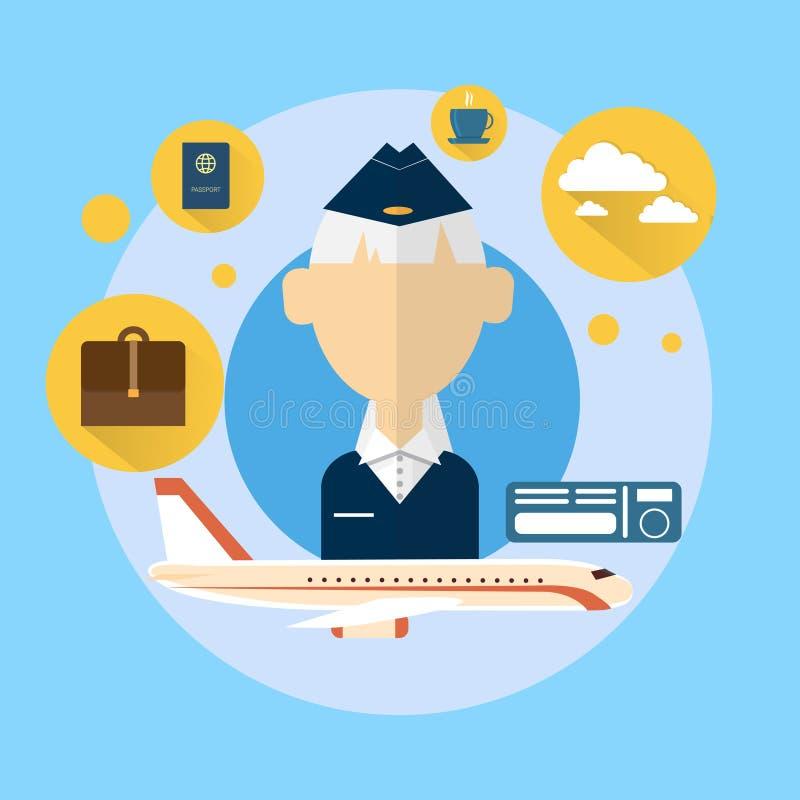 Hôtesse supérieure Airport Crew Icon illustration libre de droits