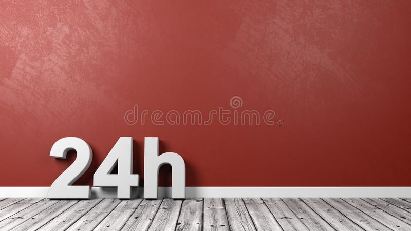 24h Text Letters on Floor royalty free illustration