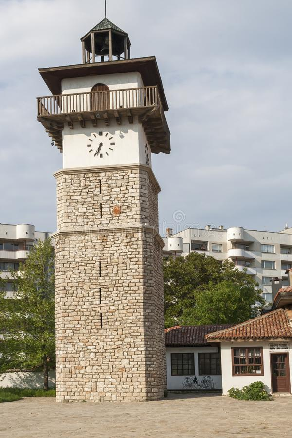 H?user des 19. Jahrhunderts an der alten Stadt in der Mitte der Stadt von Dobrich, Bulgarien lizenzfreie stockfotografie