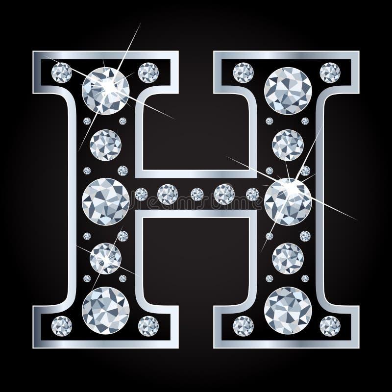 H vectordiebrief met diamanten wordt gemaakt op zwarte achtergrond worden geïsoleerd vector illustratie