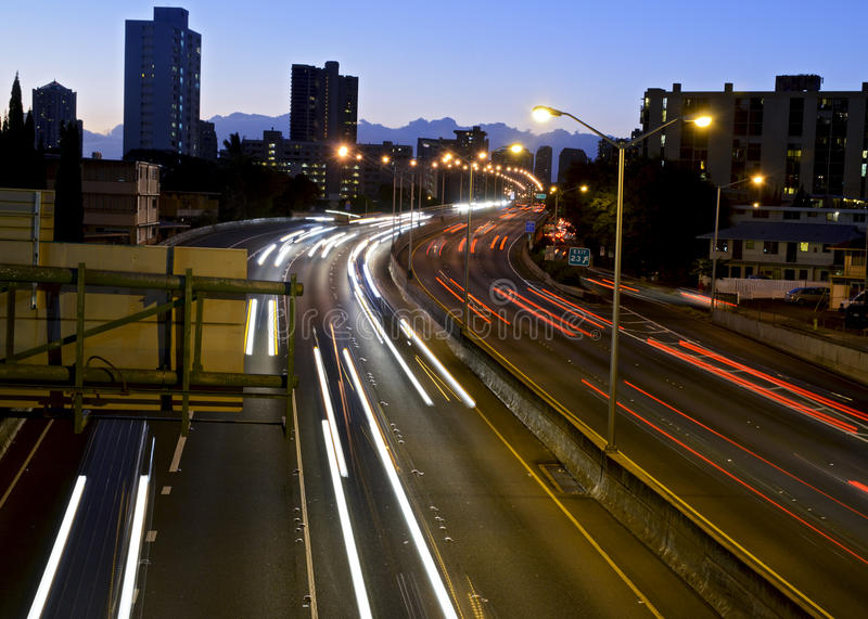 H1 traffic at dusk. Traffic on the highway at dusk royalty free stock image