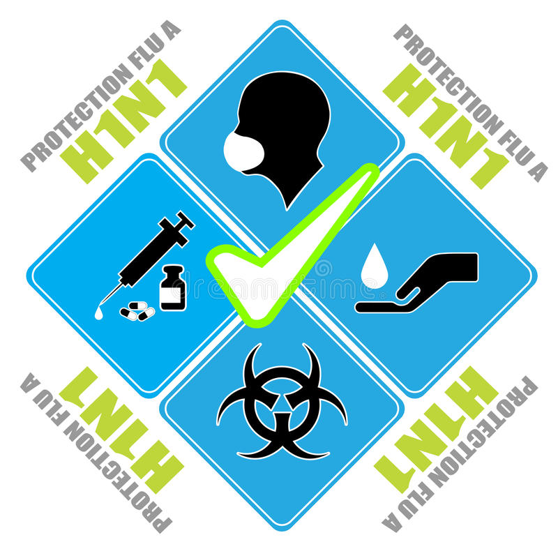 H1N1 icon. H1N1 protection icon, art royalty free illustration