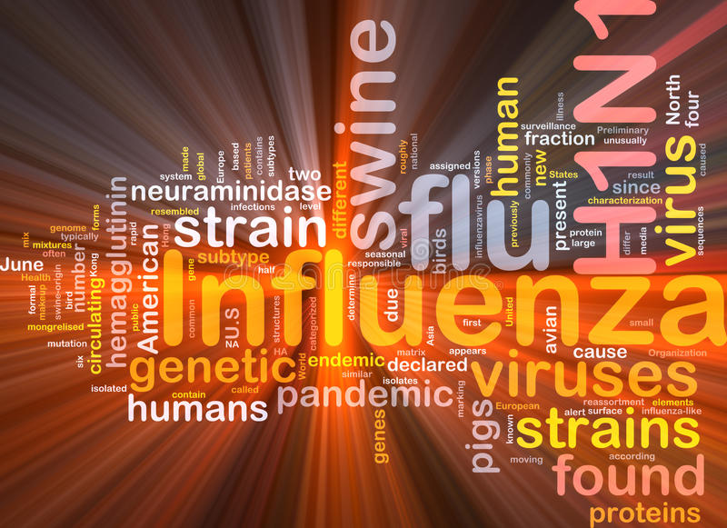H1N1 Influenza background concept glowing