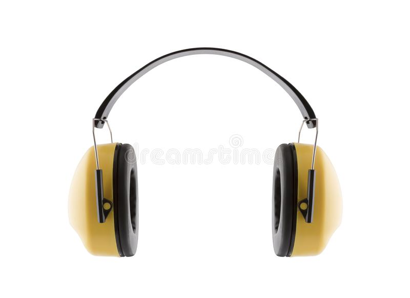 hałas ochrony przeciwko Przesłuchanie ochrony żółte uszate mufki zdjęcie royalty free