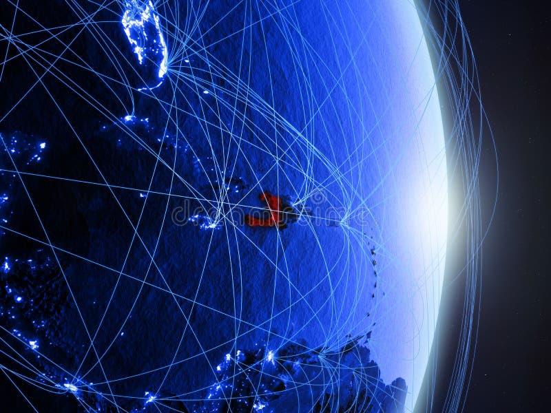Haïti op blauwe blauwe digitale Aarde stock afbeelding