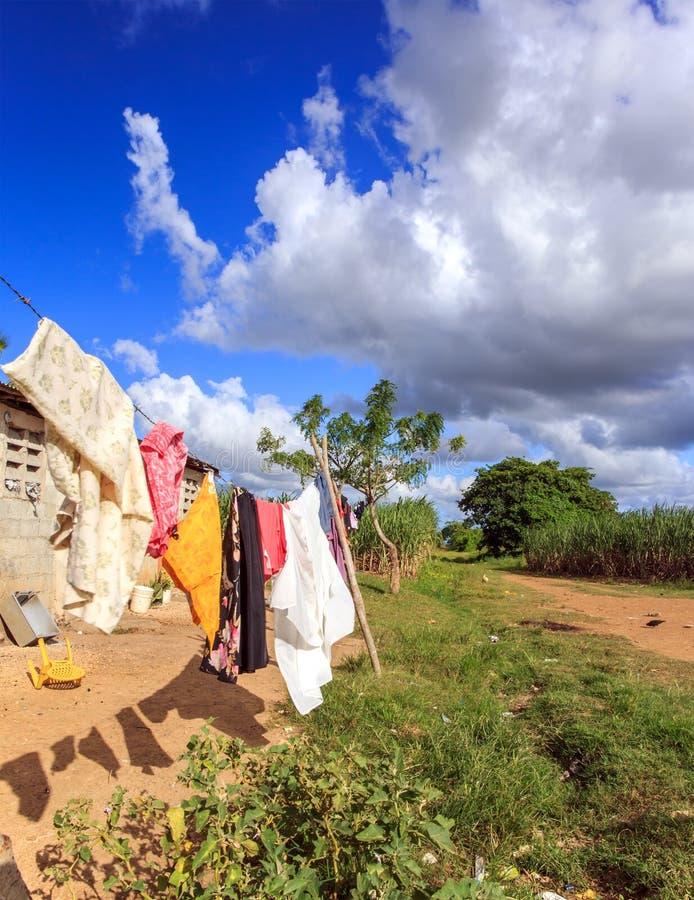 Haïtiaans vluchtelingskamp in Dominicaanse Republiek royalty-vrije stock afbeelding