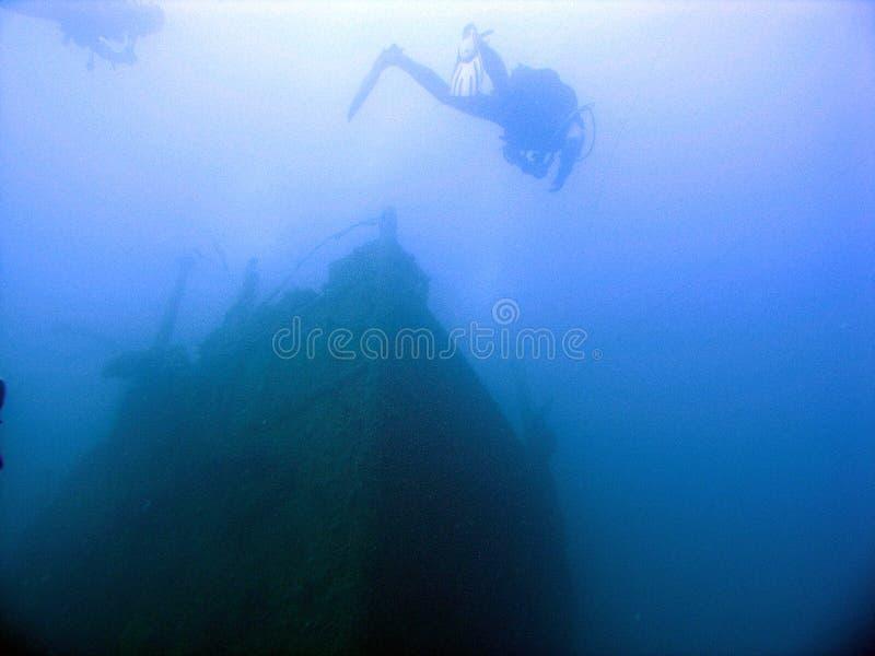 hałasu nurkowania widoczny wrak zdjęcie stock