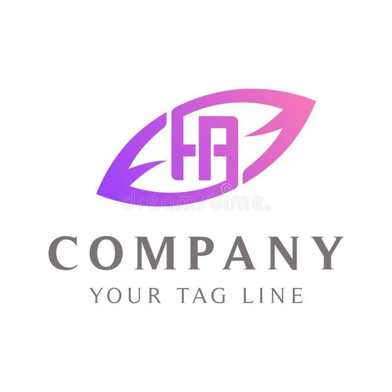 HA abstract logo, leaf shape outside.  royalty free illustration