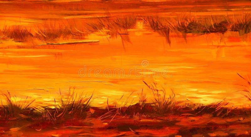 Ha conservato i fiumi durante il tramonto del sole, dipingente dall'olio su tela illustrazione vettoriale