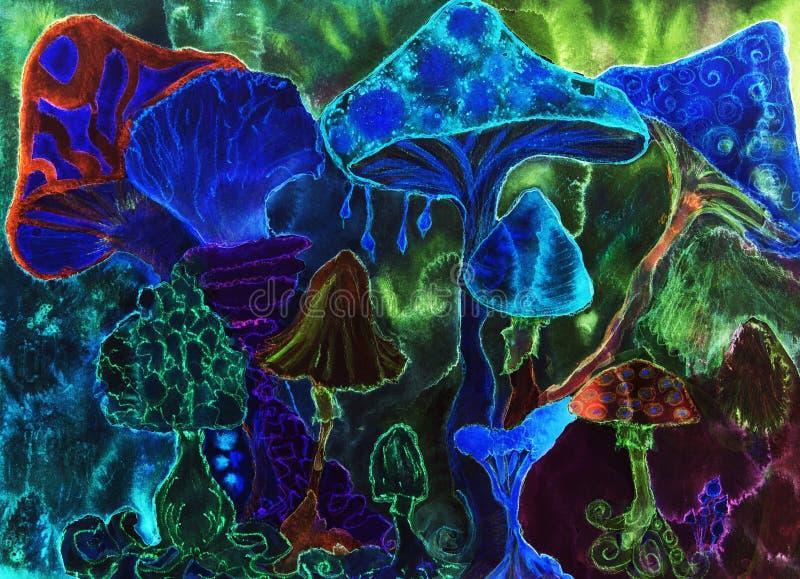 Ha deppigheten, trippy magiska psykedeliska champinjoner royaltyfri illustrationer