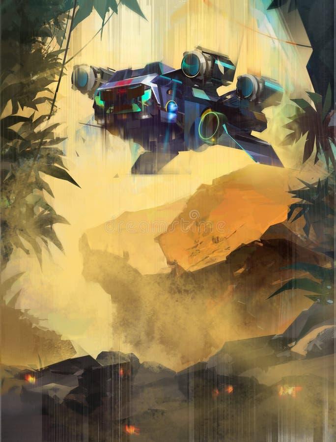 Ha dipinto un paesaggio futuro fantastico con il trasporto illustrazione di stock