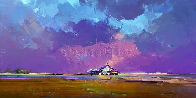 Ha dipinto un paesaggio luminoso con una casa illustrazione vettoriale