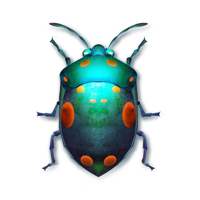 Ha dipinto uno scarabeo colorato luminoso su un fondo bianco illustrazione di stock