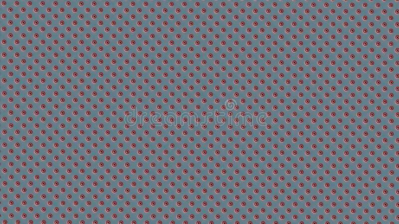 Ha distribuito simmetricamente i punti o le palle a strisce bianchi rossi su fondo blu-chiaro illustrazione di stock