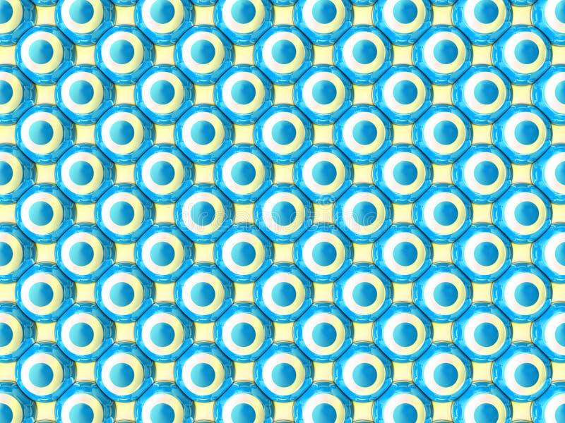Ha distribuito simmetricamente parallelamente le sfere colorate blu e bianche su fondo giallo-chiaro illustrazione vettoriale