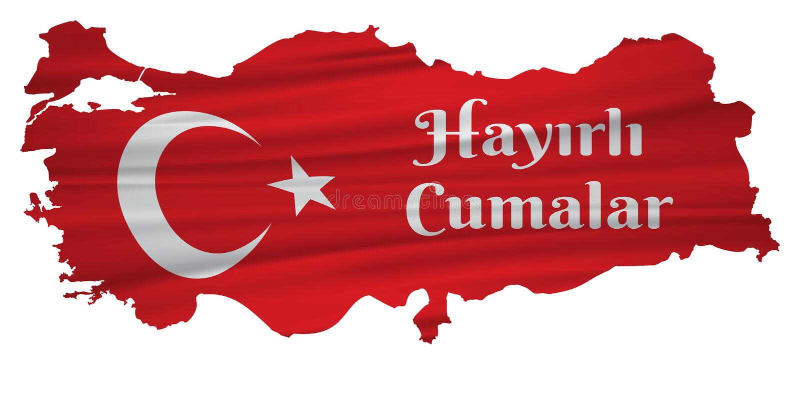 Ha en bra fredag turk talar: Hayirli Cumalar Illustration f?r Turkiet ?versiktsvektor Vektor av jumahmubarakah fredag mubarak i t royaltyfri illustrationer