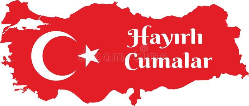 Ha en bra fredag turk talar: Hayirli Cumalar Illustration f?r Turkiet ?versiktsvektor Vektor av jumahmubarakah fredag mubarak i t stock illustrationer