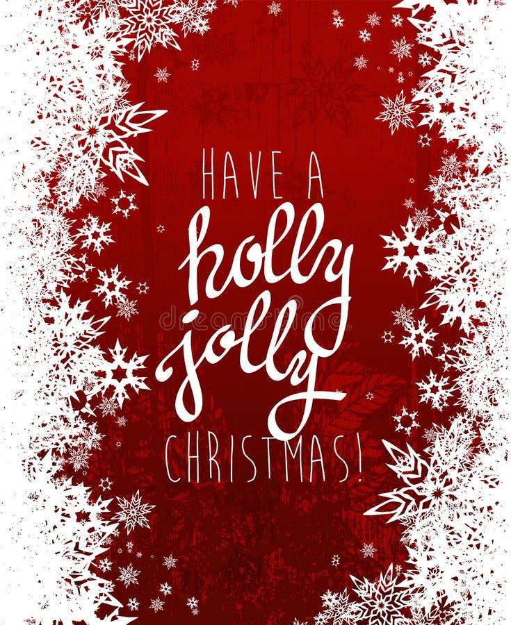 'Ha en glad jul för järnek med massor av snöflingor royaltyfri illustrationer