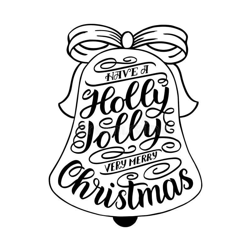 Ha en Holly Jolly Christmas Kort för handbokstäverhälsning med julgranform Design för tappningtypografivektor vektor illustrationer