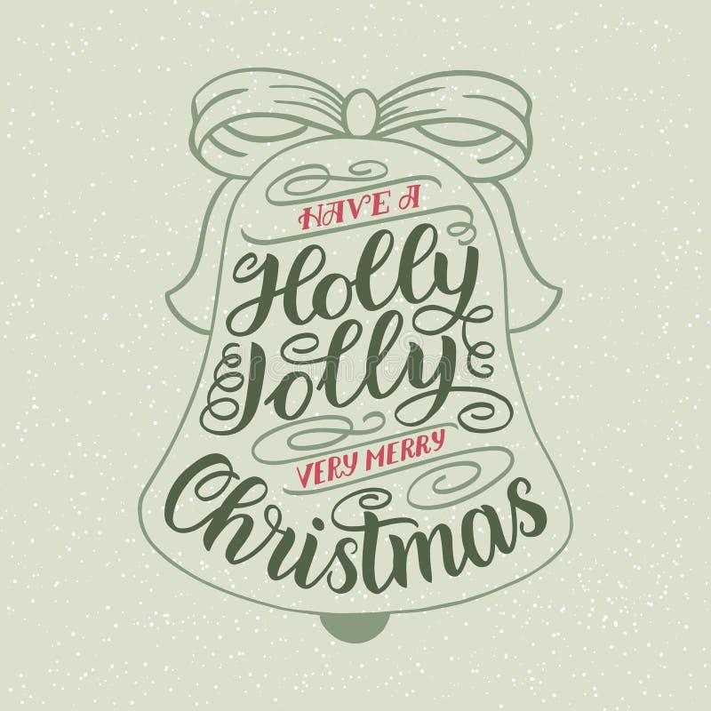 Ha en Holly Jolly Christmas Kort för handbokstäverhälsning med julgranform Design för tappningtypografivektor royaltyfri illustrationer