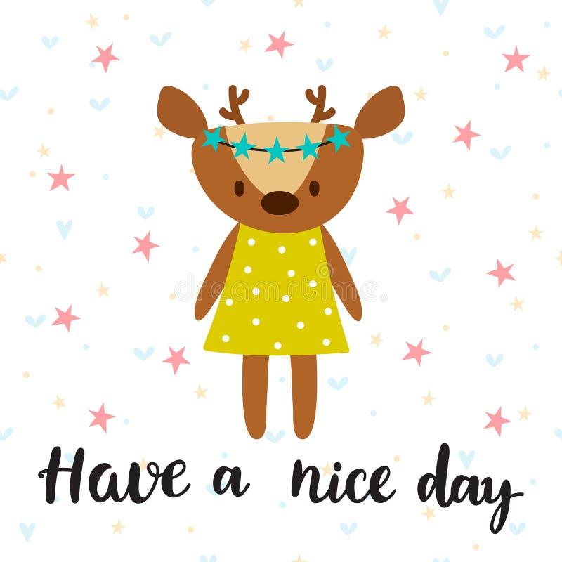 Ha en trevlig dag Inspirerande citationstecken Hand dragen bokstäver Moti stock illustrationer