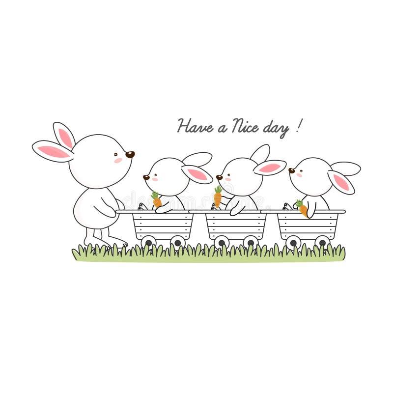 Ha en trevlig dag Kaninen och hennes behandla som ett barn med morottecknad filmillustrationen vektor illustrationer